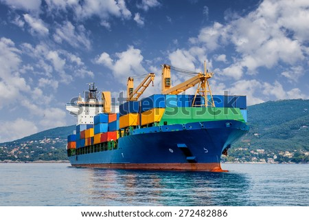 merchant container ship - stock photo