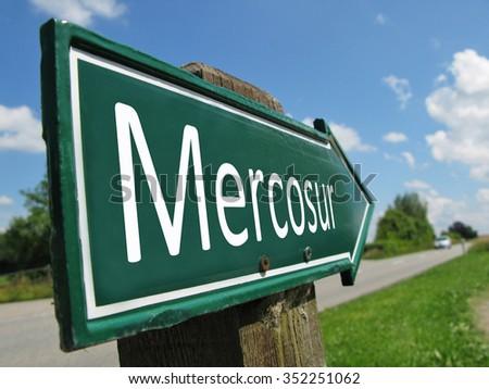 Mercosur signpost along a rural road - stock photo