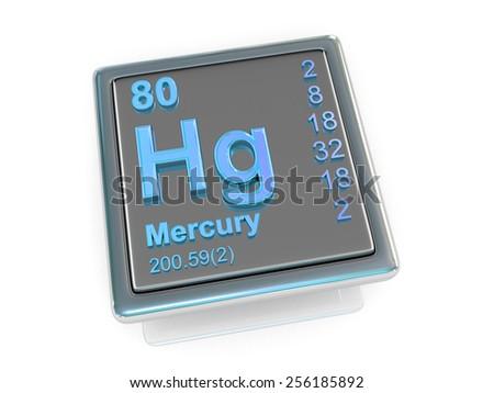 Mercury. Chemical element. 3d - stock photo