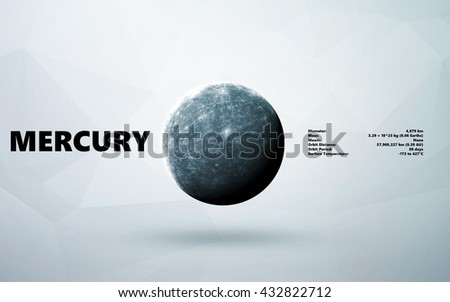 Mercury. Minimalistic style set of planets in the solar system. Elements of this image furnished by NASA - stock photo