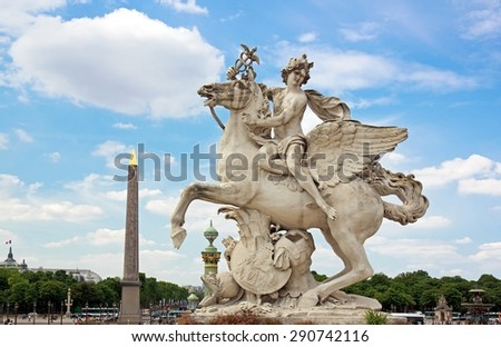 Mercury riding Pegasus, the Tuileries, statue of Coysevox (dated thousand six hundred forty / thousand seven hundred twenty) (Paris France) - stock photo