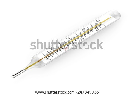 Mercury thermometer on white background