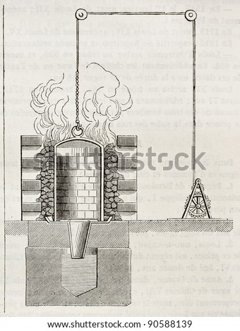 Mercury vaporization and silver fusion stove in a Mexican silver mine. By unidentified author, published on Magasin Pittoresque, Paris, 1844 - stock photo