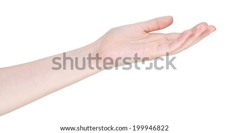 mercy hand gesture isolated on white background