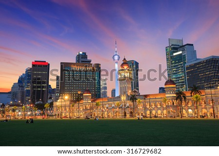 Merdeka Square in downtown Kuala Lumpur at twilight Malaysia - stock photo