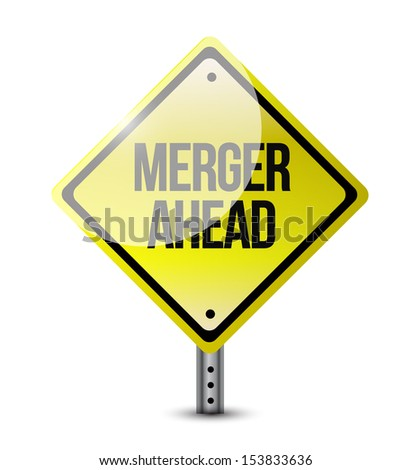 merger ahead road sign illustration design over a white background - stock photo