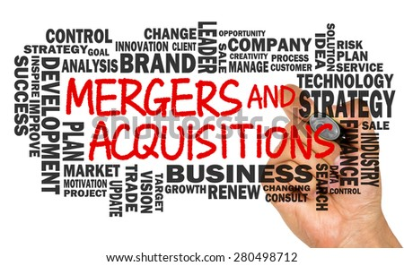 mergers and acquisitions concept with business word cloud handwritten on whiteboard