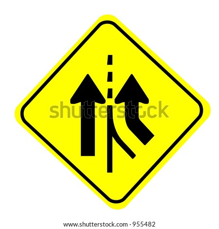 Merging traffic sign isolated on a white background - stock photo