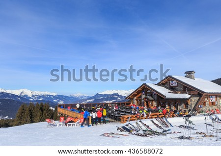 MERIBEL, FRANCE - JANUARY 26, 2016: Restaurant in the mountains. Meribel Ski Resort. France
