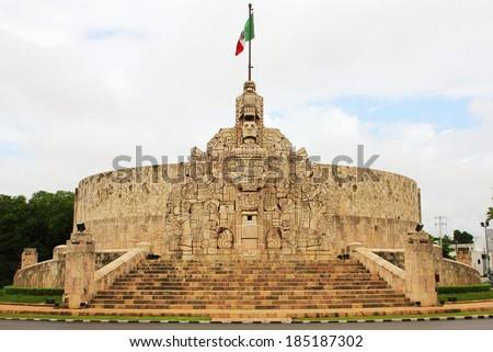 Merida. Monument to the Fatherland, Yucatan, Mexico. Patria Monument in Paseo de Montejo.  - stock photo