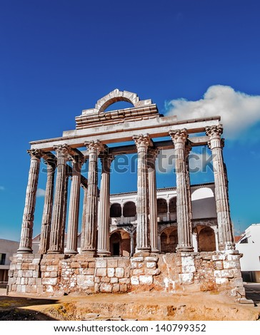 Merida, November 2012. Diana Temple in homage of Emperor Augusto in Merida,  Spain. I B.C. or I A.C. UNESCO World Heritage Site. Ancient Emerita Augusta, capital of Lusitania province of Roman Empire. - stock photo