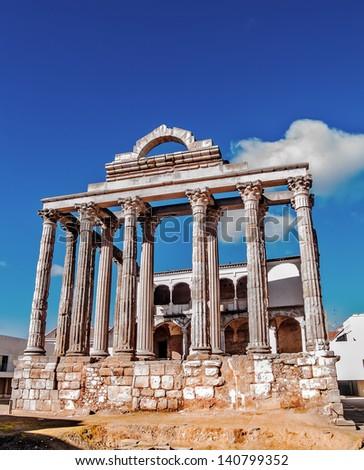 Merida, November 2012. Diana Temple in homage of Emperor Augusto in Merida,  Spain. I B.C. or I A.C. UNESCO World Heritage Site. Ancient Emerita Augusta, capital of Lusitania province of Roman Empire. - stock photo