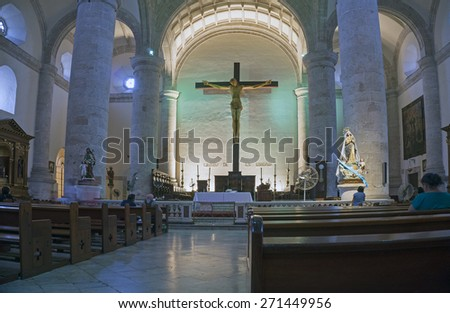 Merida, Yucatan Mexico, January 23, 2015: Interior of the central cathedral across from the main square in Merida, Mexico. - stock photo