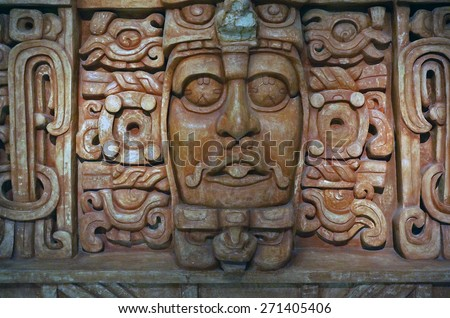 Merida, Yucatan Mexico, January 15, 2015: Wall of an ancient Mayan tomb on display at the Gran Museo del Maya Mundo in Merida, Mexico.