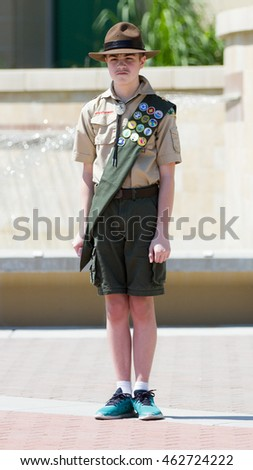 MERIDIAN, IDAHO/USA - JULY 30, 2016: Member of the Boy Scouts of america standing at attention in honor of our Meridian Police Department