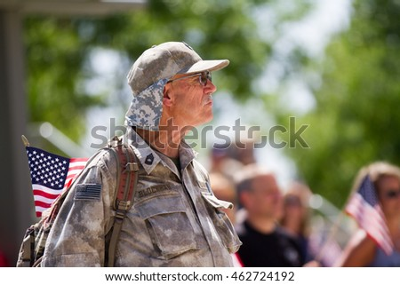 MERIDIAN, IDAHO/USA - JULY 30, 2016: Service member Blockhan with his flag in support for the Meridian Police department