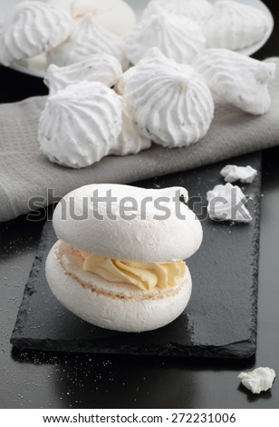 meringue cake on the table - stock photo