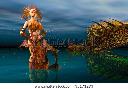 Mermaid at Midnight rising out of the ocean water dripping off her body. A giant water dragon in the background. Illustration - stock photo