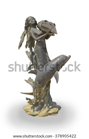 Mermaid statue is made of metal isolated on white background. This has clipping path.