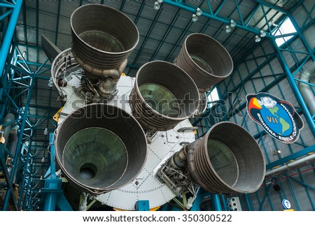 MERRITT ISLAND, FLORIDA - JUNE 7, 2013: The Rocket Garden at Kennedy Space Center NASA.  Inside museum, historical rockets from explorations for every United States human space flight since 1968 - stock photo
