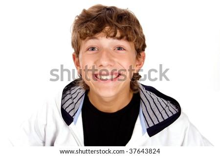 merry boy on white background - stock photo