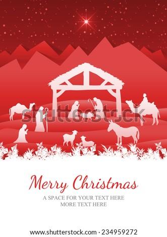 Merry Christmas against nativity scene vector under starry sky - stock photo