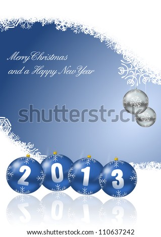 merry christmas and a happy new year 2013 - stock photo