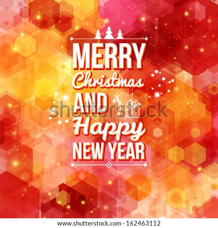 Merry Christmas and Happy new year card.  - stock photo