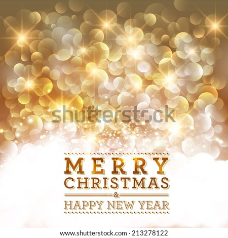 Merry Christmas and Happy New Year card design. Perfect as invitation or announcement. - stock photo