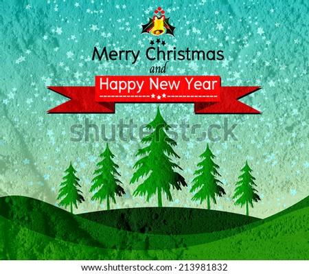 Merry Christmas And Happy New Year card on Cement wall Background texture - stock photo
