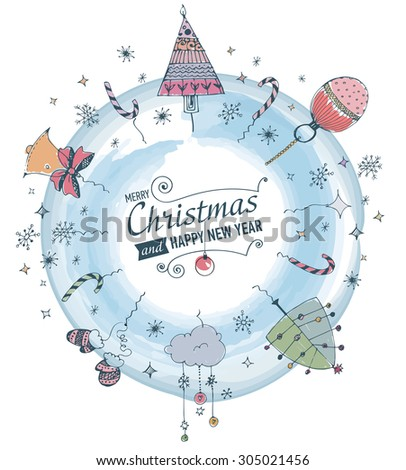 Merry Christmas and Happy New year Card with designed text.Hand drawn doodles. JPG version. - stock photo
