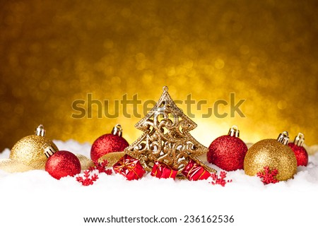 Merry christmas and happy new year card with red decoration - stock photo