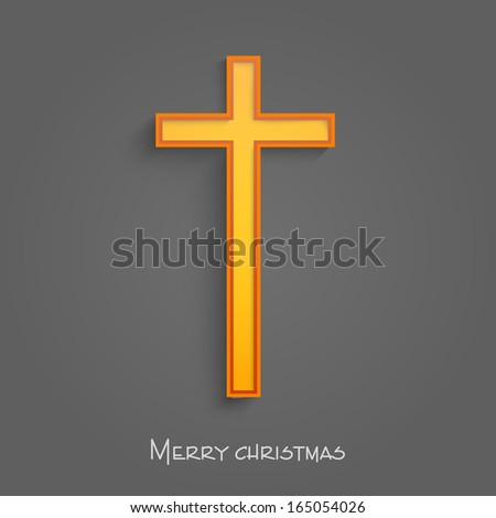 Merry Christmas and Happy New Year 2014 celebration concept with Christian Cross on grey background.  - stock photo