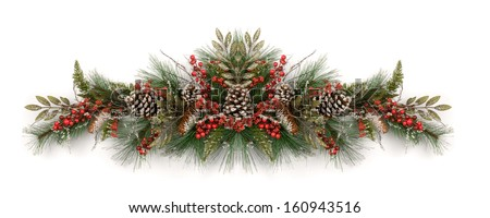 Merry Christmas and Happy New Year. Christmas garland decorated with pine cones and red berries  - stock photo