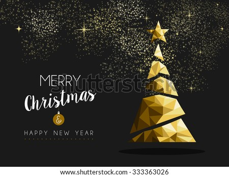Merry christmas and happy new year fancy gold xmas tree in hipster low poly triangle style. Ideal for greeting card or elegant holiday party invitation - stock photo