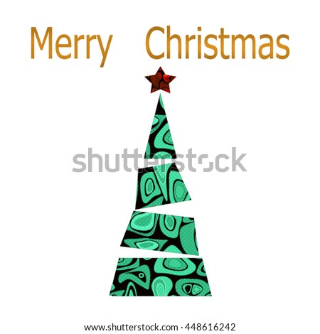 Merry Christmas and happy new year greeting card with christmas tree on white background