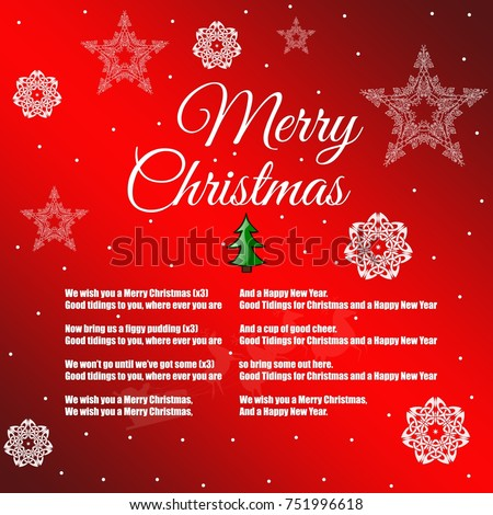 Merry christmas happy new year 2018 stock illustration 751996618 merry christmas and happy new year 2018 greeting card with the words of a song m4hsunfo
