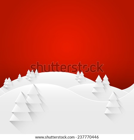 Merry Christmas and Happy New Year Landscape Greeting Card. Raster copy. - stock photo