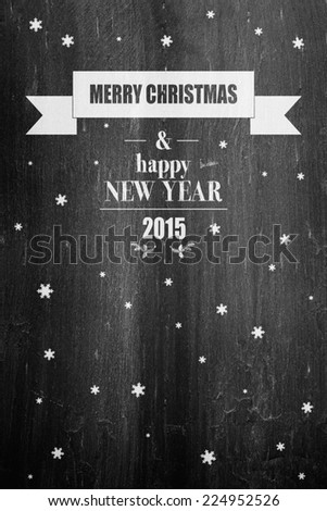Merry christmas and happy new year on chalkboard - stock photo