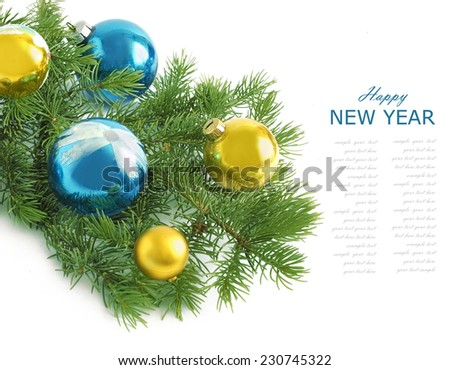 Merry Christmas and Happy New Year (still life with new year tree and balls isolated on white background with sample text ) - stock photo