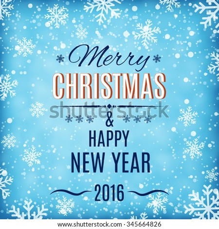 Merry Christmas and Happy New Year text label on a winter background with snow and snowflakes. Greeting card template. illustration.  Raster version. - stock photo