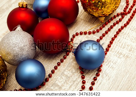 Merry Christmas and Happy New Year toys - stock photo