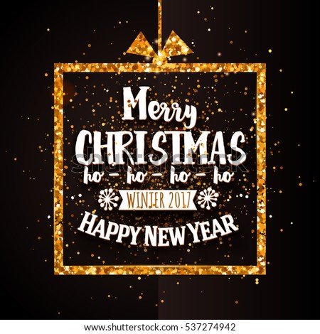 Merry Christmas and Happy new year typography with gold glitter border. Holidays background with golden frame. Raster copy illustration. Xmas greeting banner