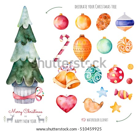 merry christmas and happy new year watercolor setdecorate your christmas tree with 19 decorative