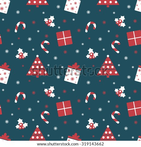 Merry Christmas and Happy New Year. Winter holiday background. Cute seamless pattern with red and blue colors. Raster illustration can be used for printing on paper and fabric.  - stock photo