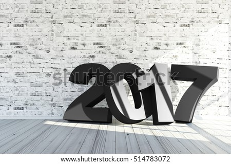 Merry Christmas and New Year 2017 Concept. Modern Empty Room 3D Interior with 2017  near the Brick Wall. 3D Rendering