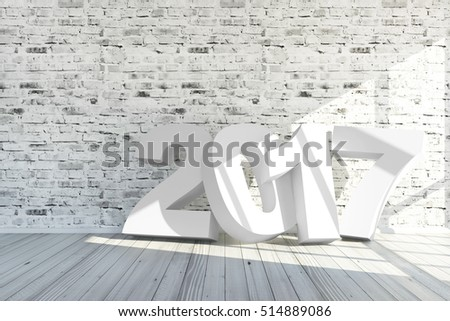 Merry Christmas and New Year 2017 Concept. Modern Empty Room 3D Interior with 2017 White Text near the Brick Wall. 3D Rendering