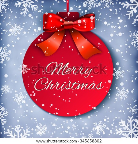 Merry Christmas background with Christmas ball and realistic bow and snowflakes. Holiday Design for New Year Greeting Cards, Posters and Flyers. illustration  Raster version. - stock photo