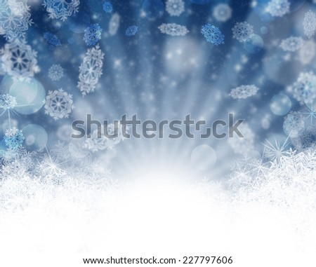 Merry Christmas Background with snow. Winter holiday snow blue background with snow ans stars. Abstract defocused blurred glowing backdrop. Bokeh - stock photo