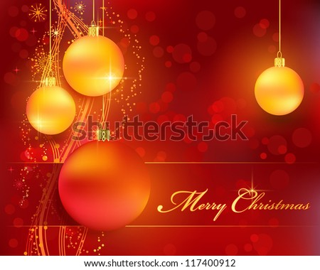 Merry Christmas background with stars, snow flakes, a wavy line pattern, bokeh lights and Christmas balls for your festive themed designs - stock photo